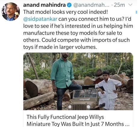 anand-mahindra-congrats-tweet-arun-kumar.