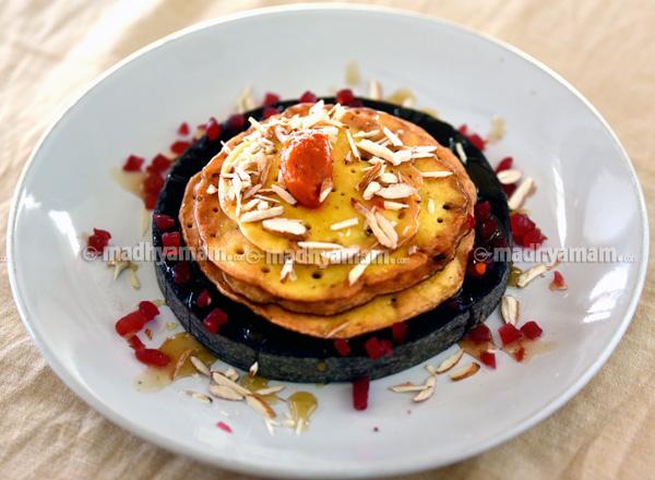 Pan Cake With Caramel Sauce and Tomato Jam