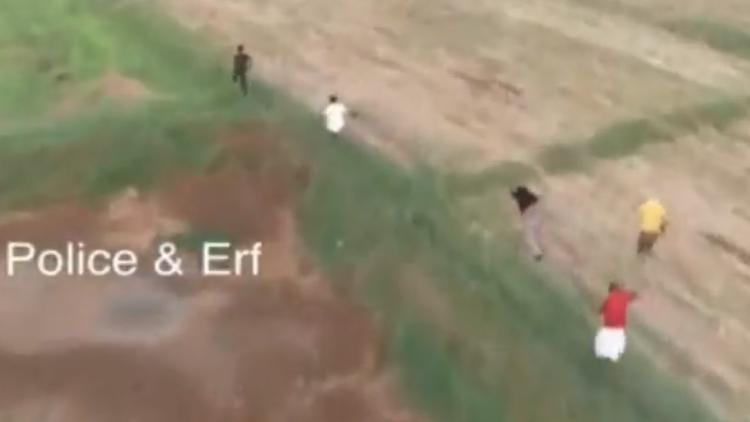ഡ്രോൺ പറന്നെത്തി... 'കണ്ടം വഴി' ഓടി ആൾകൂട്ടം VIDEO